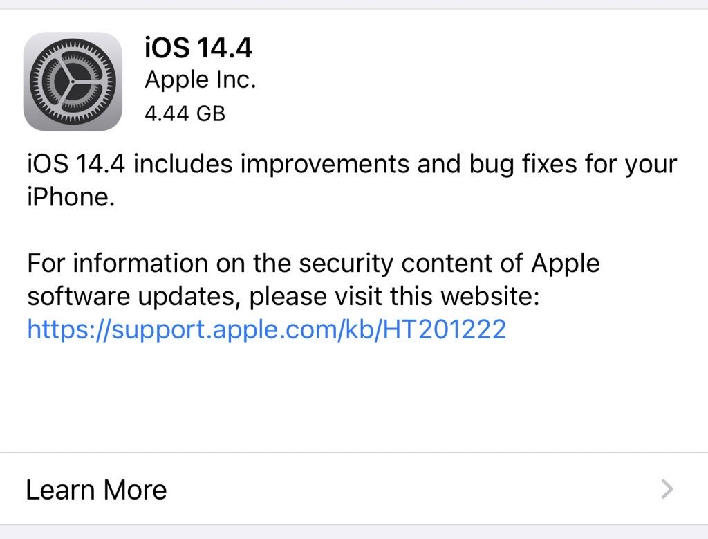 iOS 14.4 RC is out to public